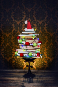 Christmas tree made out of stacked books